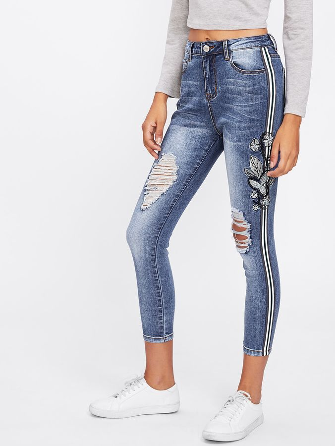dfaa4d832f Shein Stripe And Embroidery Side Ripped Jeans | nw.. in 2019 ...
