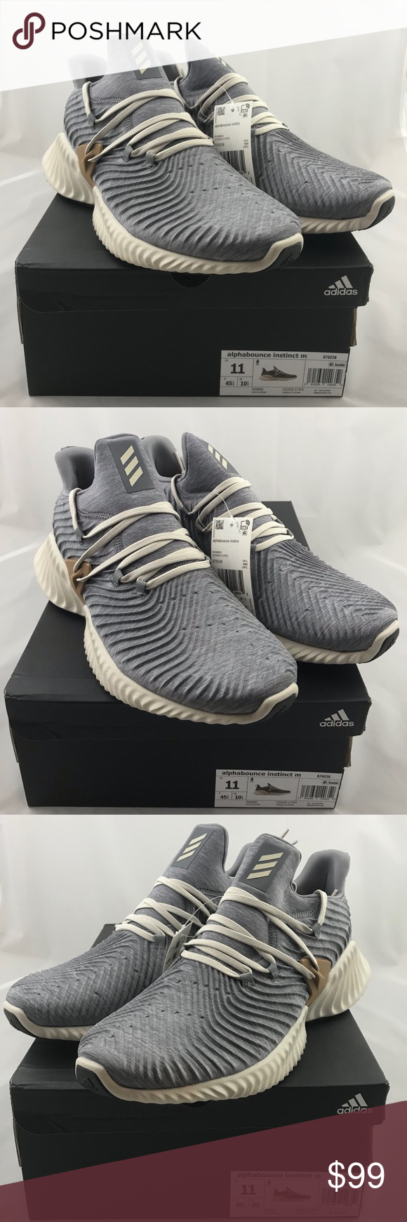 376c7f4165fd1 Adidas AlphaBounce Instinct M Core Size 11 B76038 NEW Adidas AlphaBounce  Instinct M SZ 11 Core Heather Clear Brown Raw B76038 adidas Shoes Sneakers
