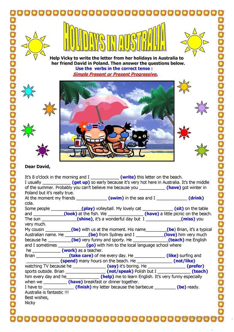 Holidays In Australia A Letter Worksheet Free Esl Printable Worksheets Made By Teache Teaching English Grammar Social Studies Worksheets English Activities [ 1079 x 763 Pixel ]
