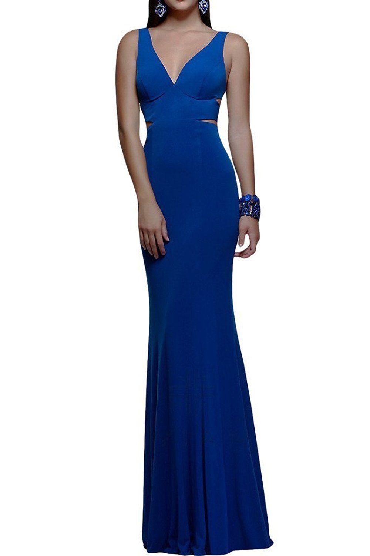 Ivydressing elegant sheath column vneck long evening party dress