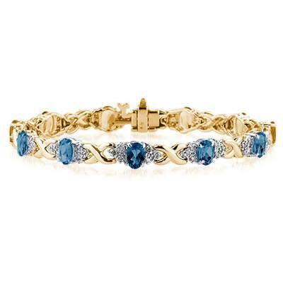 14k Yellow Gold Diamond and Sapphire Bracelet - PRB8140SP