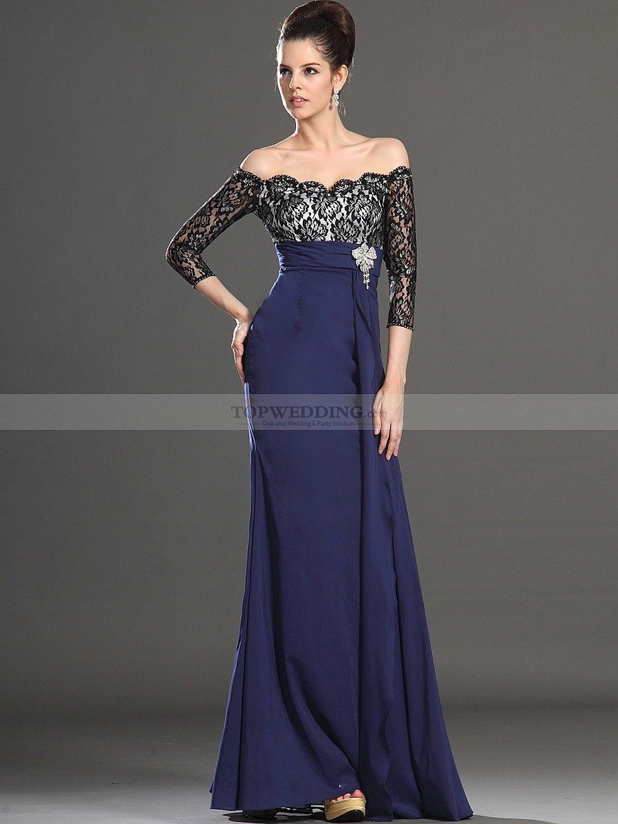Three quarter sleeve off the shoulder lace bodice long evening dress
