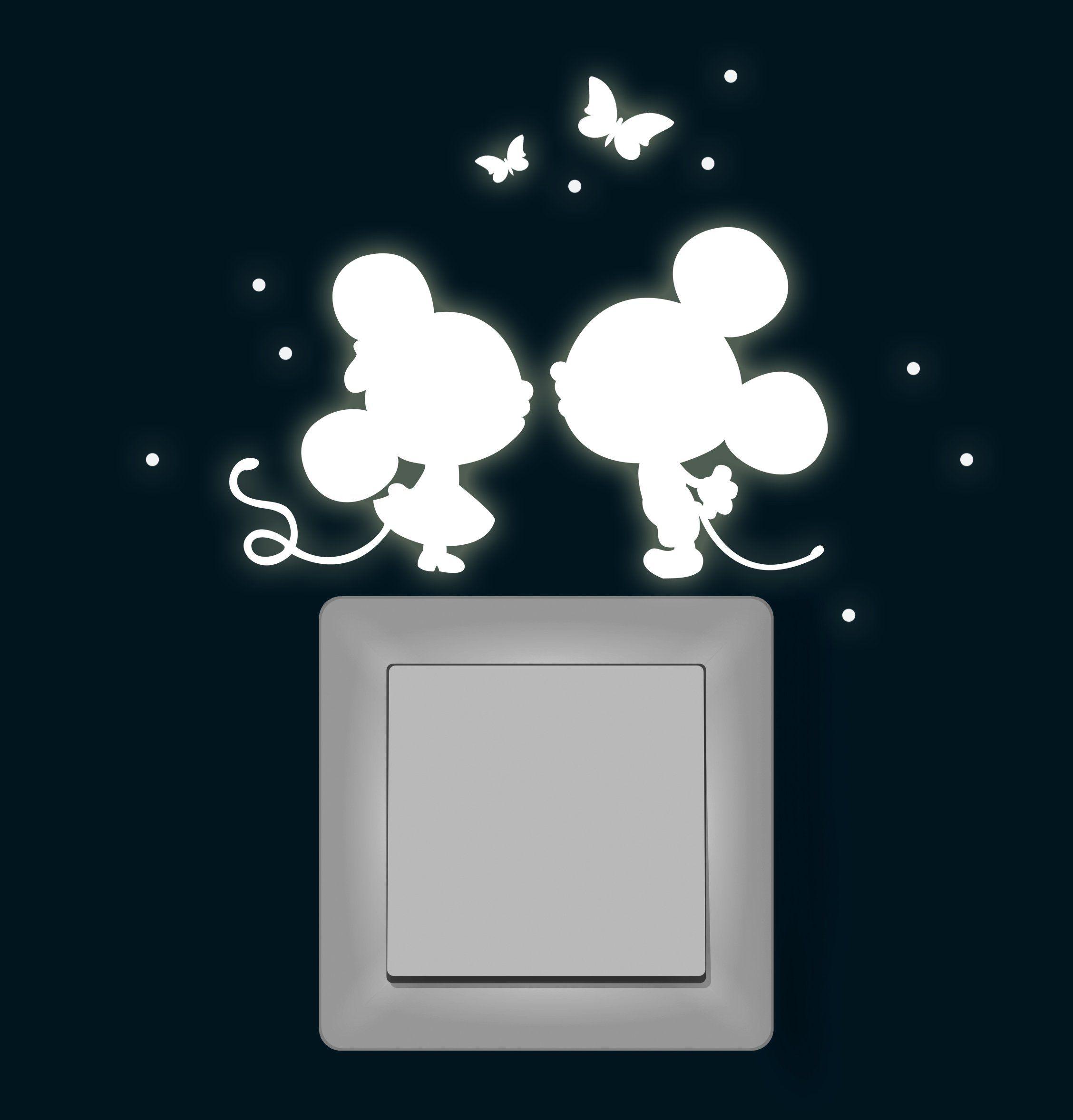 Luxury Wandtattoo Lichtschalter Leuchtsticker Maus M use mit Schmetterlinge und Punkten fluoreszierend nachtleuchtend Wandsticker Wandaufkleber M