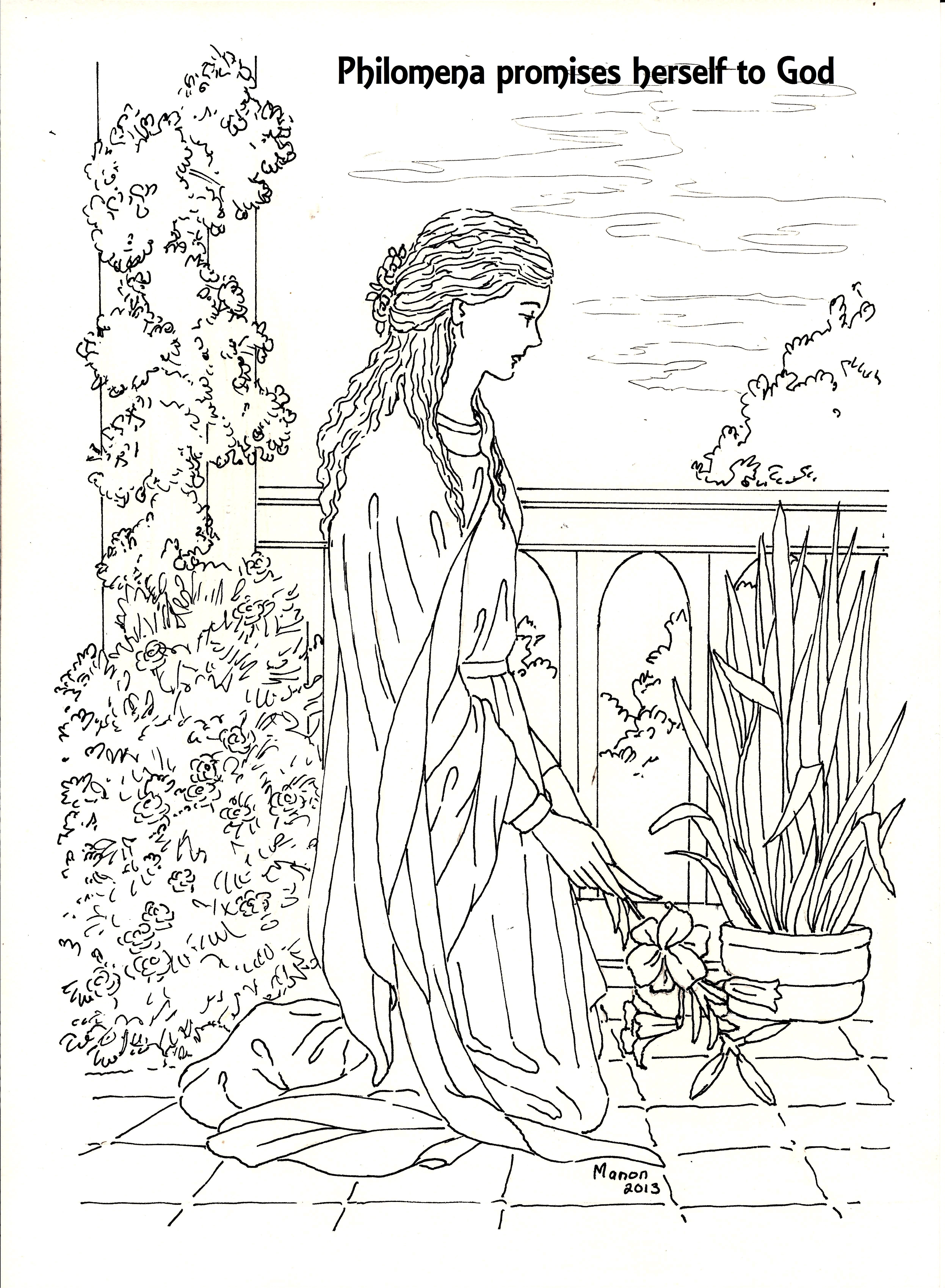 St Philomena A Page To Colour St Philomena Promising Herself To