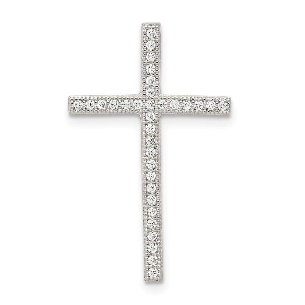 925 Sterling Silver Latin Cross Flat-back Charm Pendant 49mm x 20mm