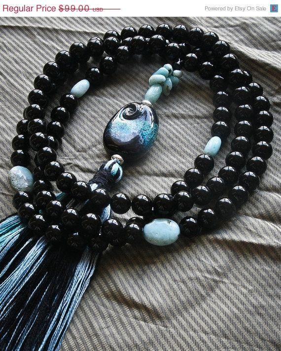 'Avalon' - Buddhist Mala Beads - Larimar and Black Onyx with designer Guru bead