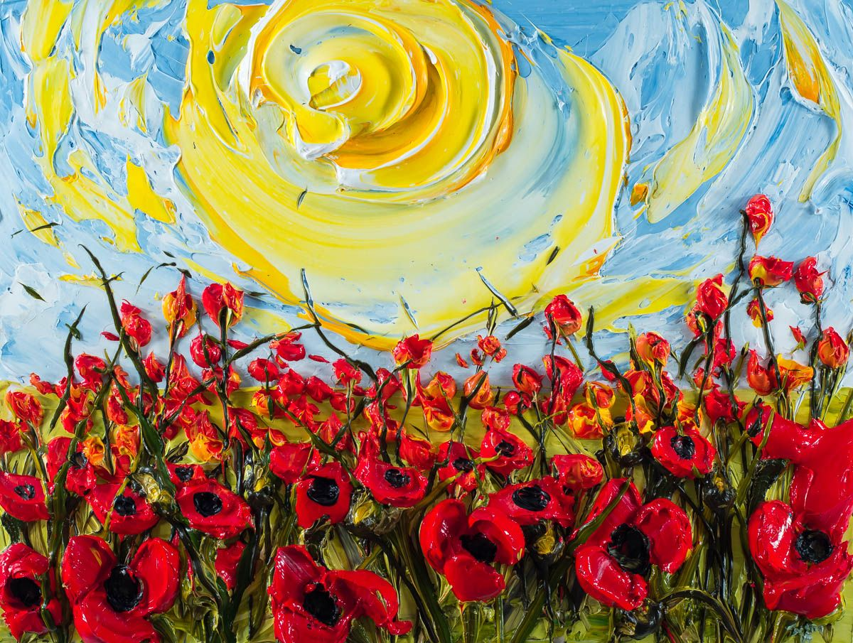 Justin Made by Hand 40×30 Field of Red Poppies in Front of Sunny ...