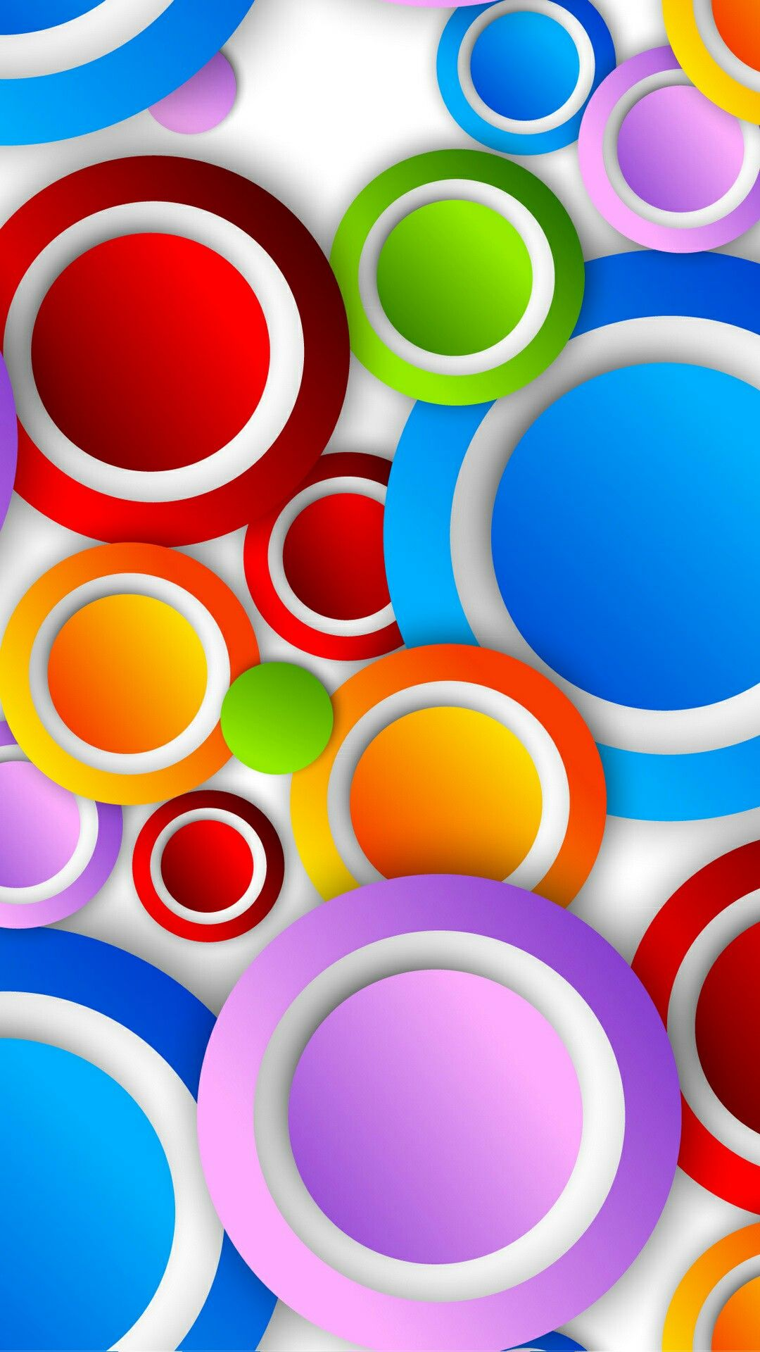 Free Colorful Geometric Wallpaper: Colorful Circles With White Trim Wallpaper