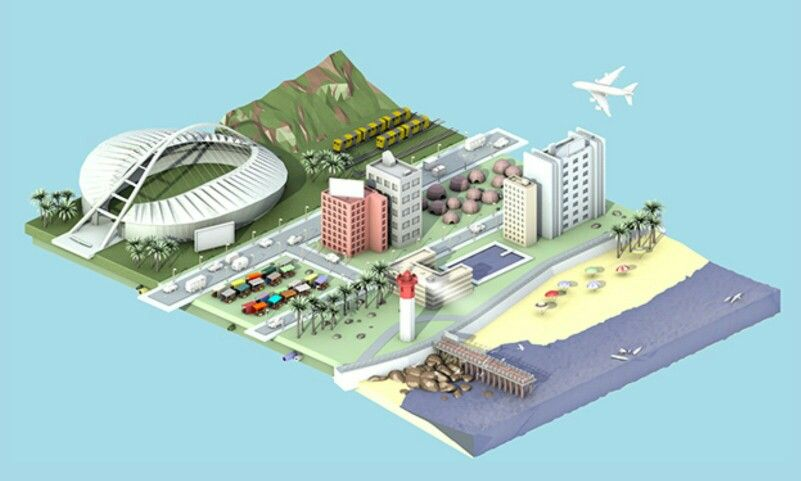 Low poly south african city with beach and aeroplane - isometric