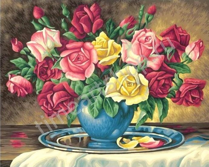 букет роз в синей вазе, картина раскраска по номерам ...