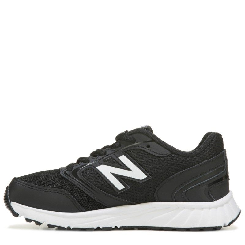 New Balance Kids' KR455 Medium/Wide Running Shoe Pre/Grade School Shoes  (Black/White Leather)