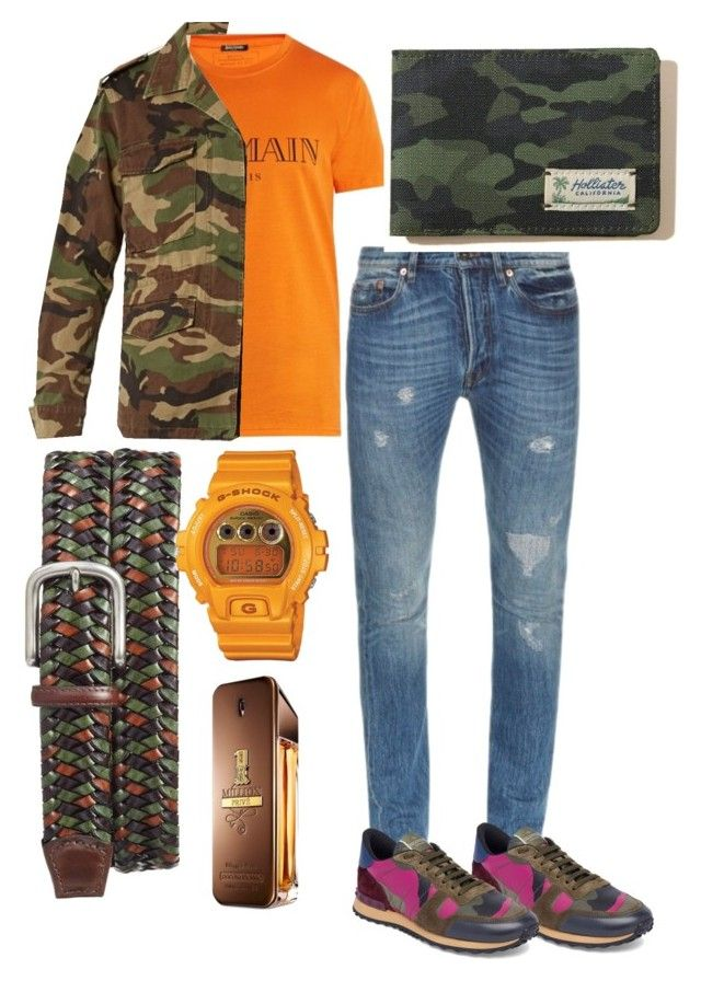 """""""military moment"""" by danilomk on Polyvore featuring Valentino, Balmain, Yves Saint Laurent, Torino, G-Shock, Paco Rabanne, Hollister Co., men's fashion and menswear"""