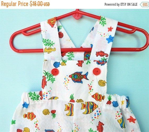 c5da150a6 Vintage Baby Boys Colorful Under the Sea Romper Size 18-24 Months ...