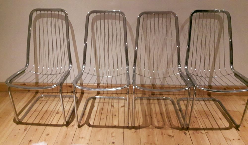4 chrome wire 70's style chairs harry bertoia inspired retro vintage
