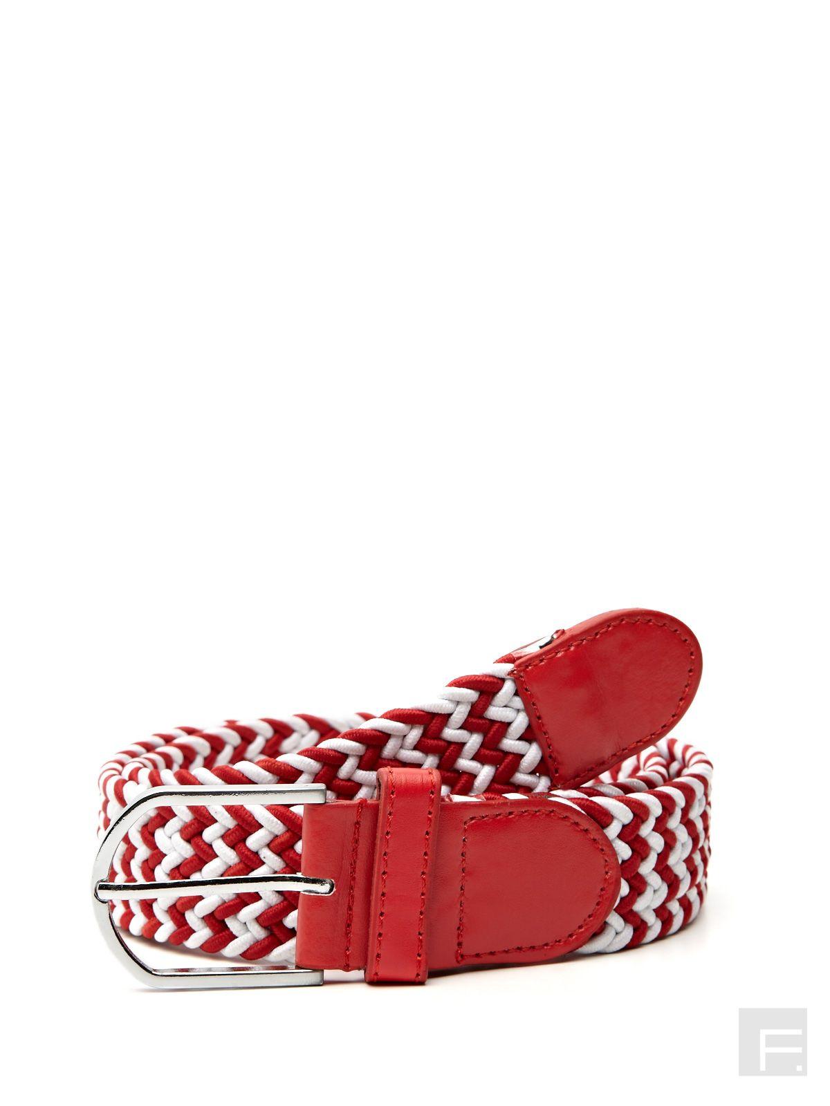Braided Canvas Belt-Red