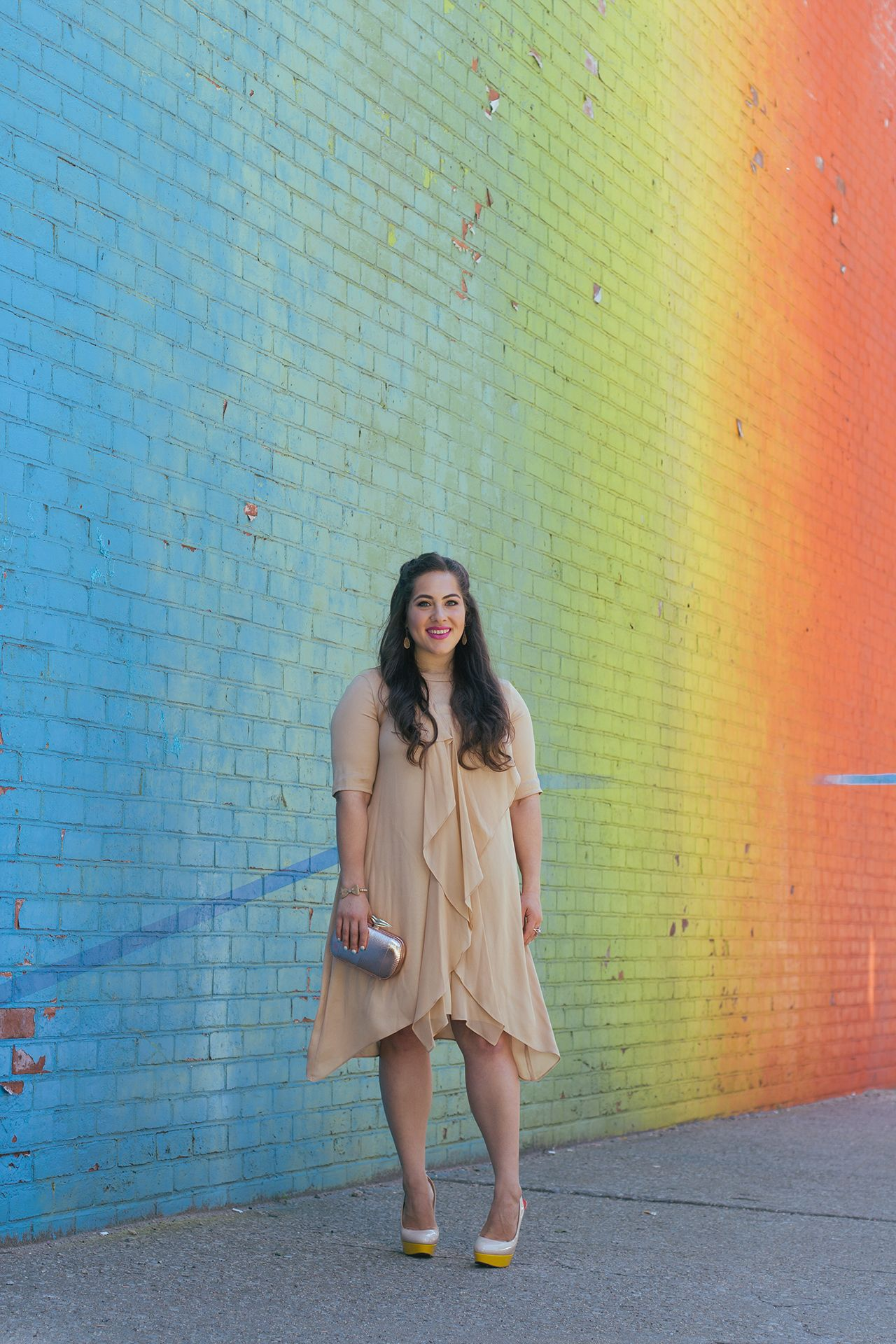 Nude Ruffle Dress and Colorful Louboutins - A Sequin Love Affair