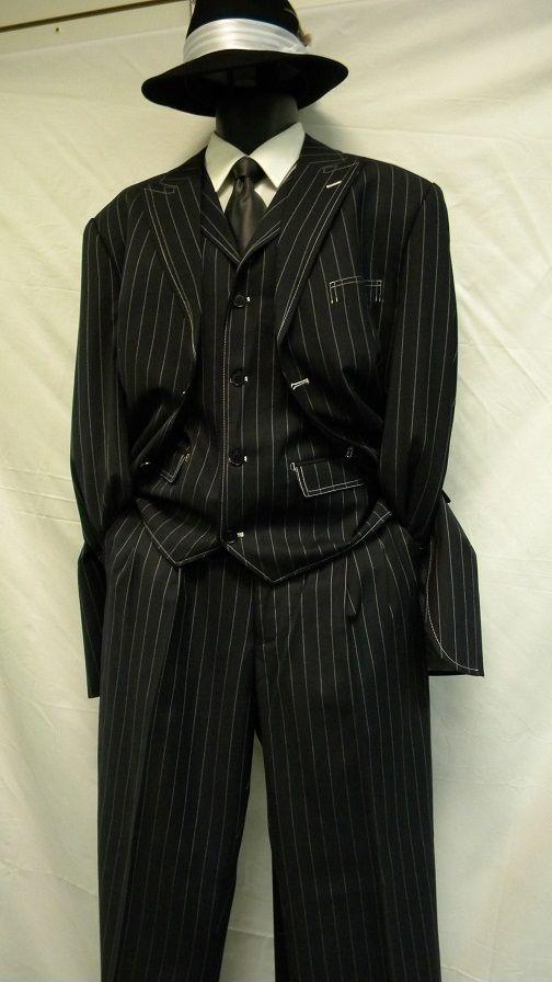 zoot suit by milano moda navy white gangster stripe 3 piece 5903v
