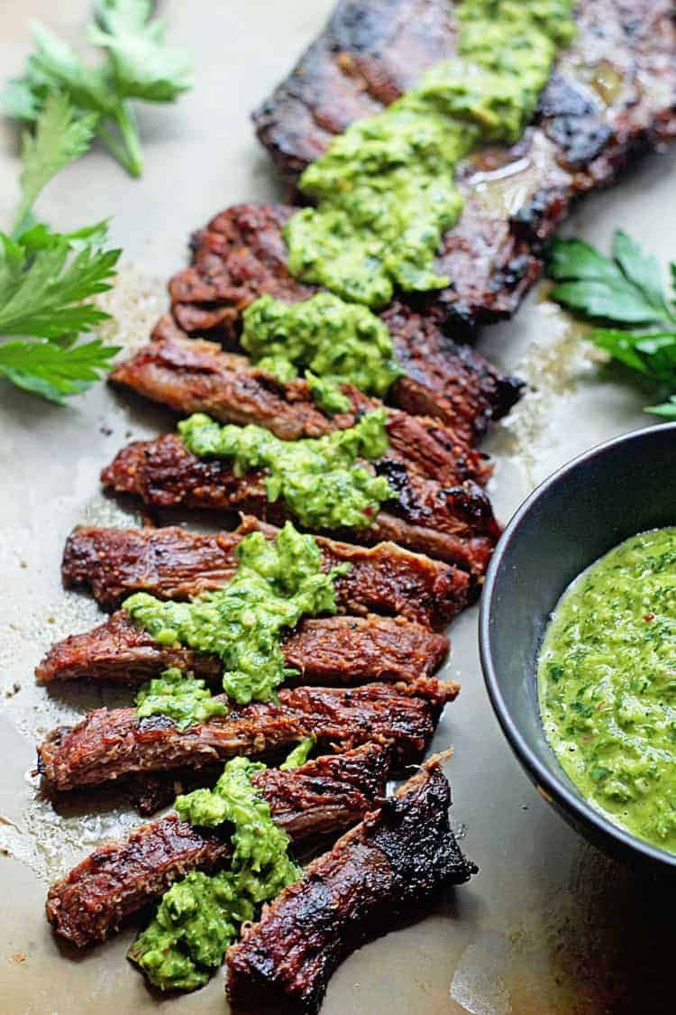 Flank Steak Marinade or Skirt Steak Marinade Recipe with Chimchurri Sauce to top it off... Skip the honey to keep it Keto #steakmarinaderecipes