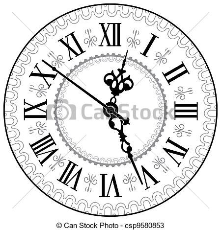 Antique Fireplace Clock Drawing