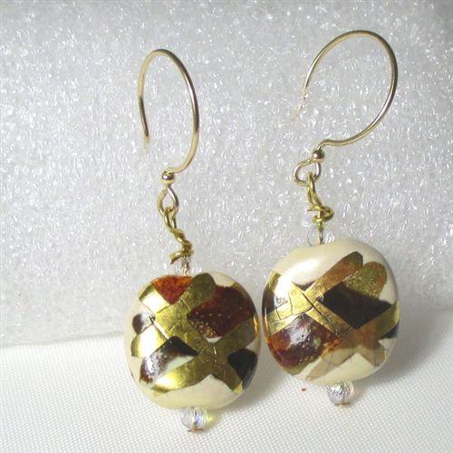 Gold & Brown Kazuri Earrings Gold Ear Wires.