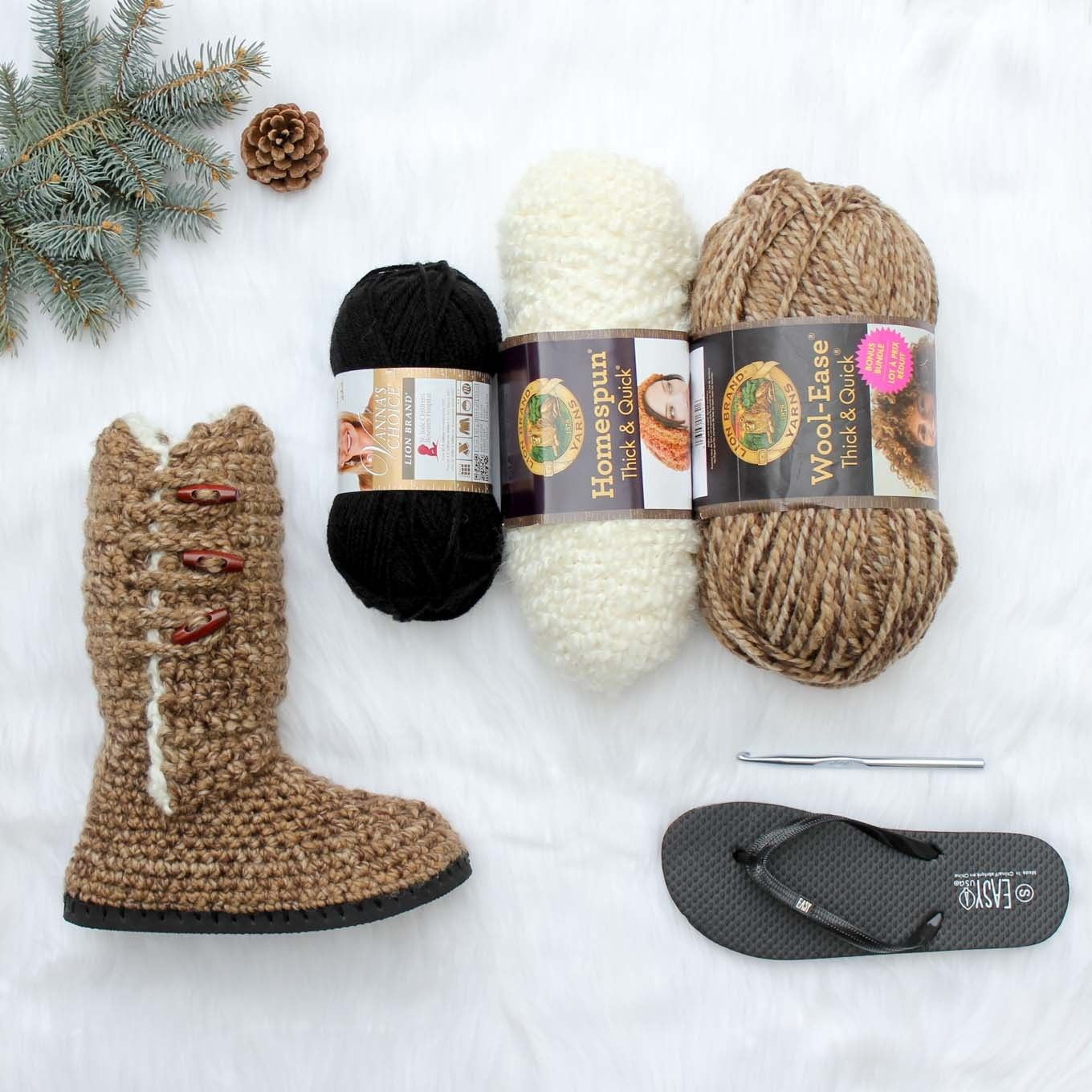 Crochet Kit - Breckenridge Boots - Lion Brand Yarn | Dog Winter ...