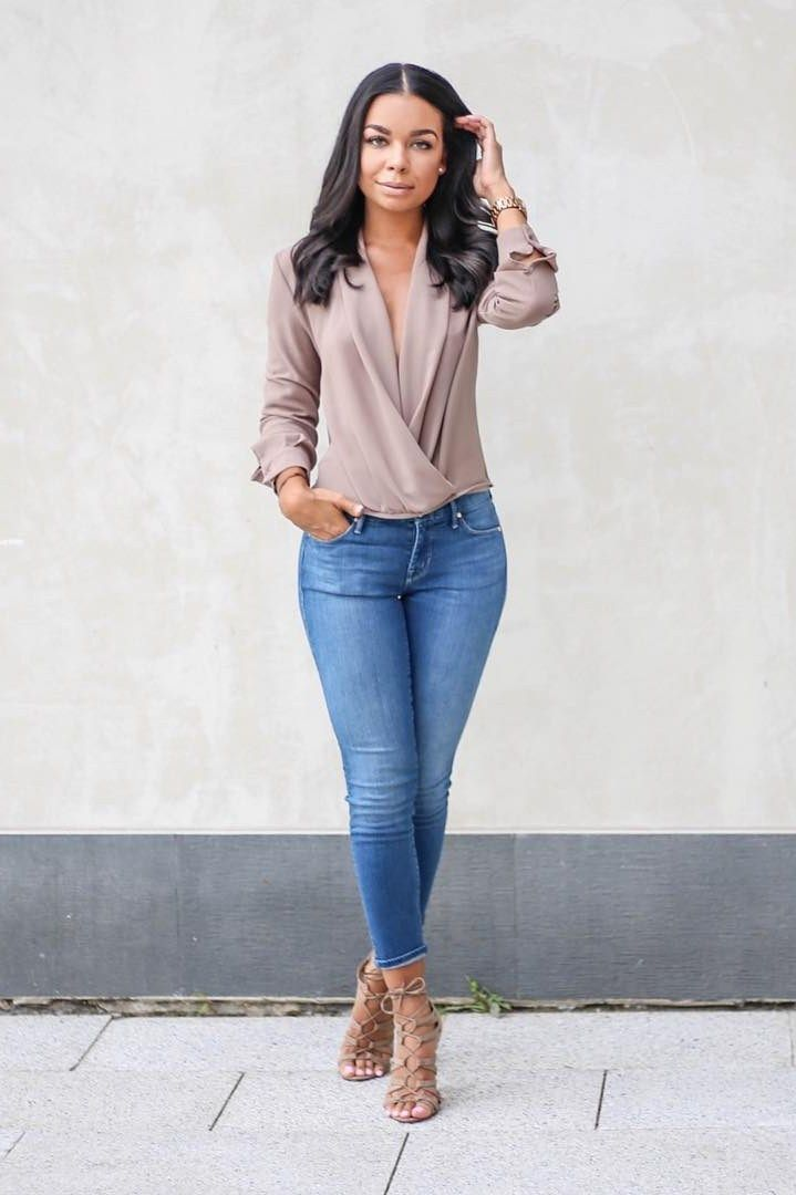 Twist Front Top Nordstrom Blouse , Mother denim Jeans , Forever 21 heels ( similar here and here ) Fashion Look by The B Werd