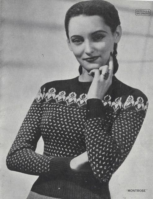 95619fa8f50ab3 The Vintage Pattern Files  Free 1940s Knitting Pattern - Women s Fair Isle  Sweaters Patons No. 262