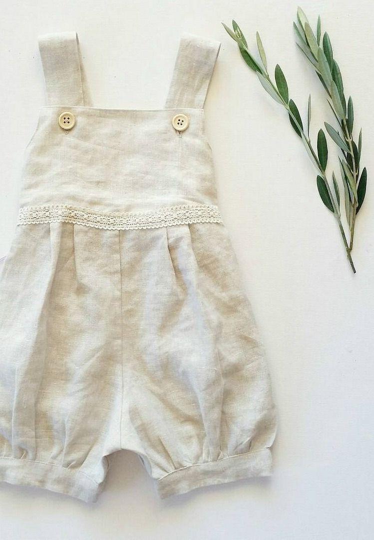 02878abfcf Girls handmade   Layaan   linen lace romper