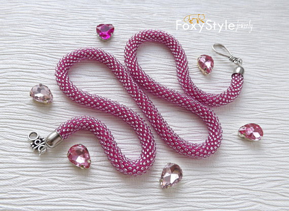 yoga necklace boho jewelry pink necklace beach wedding high