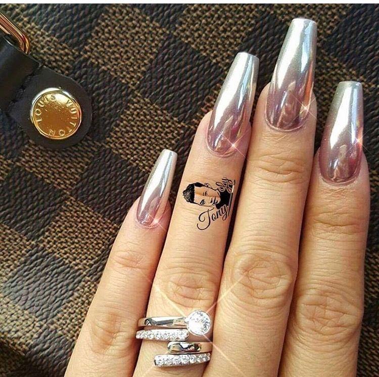 Pink Metallic mirror nails