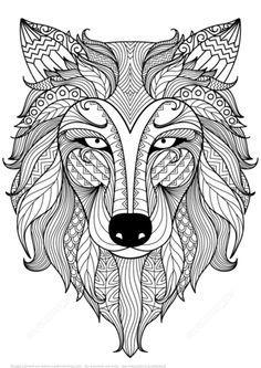 Wolf Zentangle Ausmalbild Vorlage Fenster Pinterest