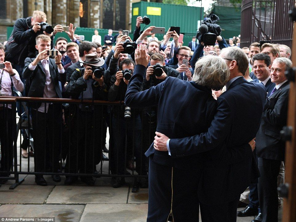 Mrs May was greeted by a huge press pack as she made her first remarks at leader of the Co...