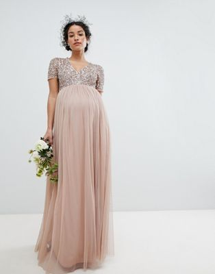 6ef731682a3 Maya Maternity v neck maxi tulle dress with tonal delicate sequins ...