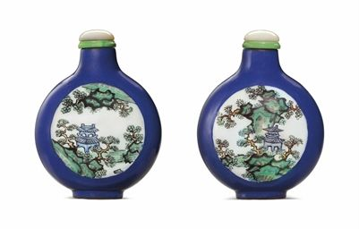AN ENAMELED BLUE-GROUND YIXING SNUFF BOTTLE  1780-1840