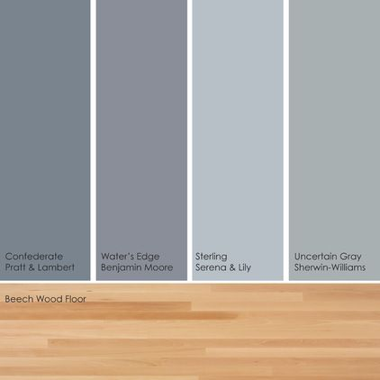 Bluish Green Gray Paint Picks Warm Up These Cool Hues By Pairing Them With A Light Wood Floor Such As B Green Grey Paint Floor Paint Colors Light Wood Floors