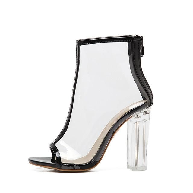 c620733d9b2 DEleventh Hot Sexy Transparency Clear PVC Heel Open Toe Square High Heels  Boots Woman Shoes Transparent