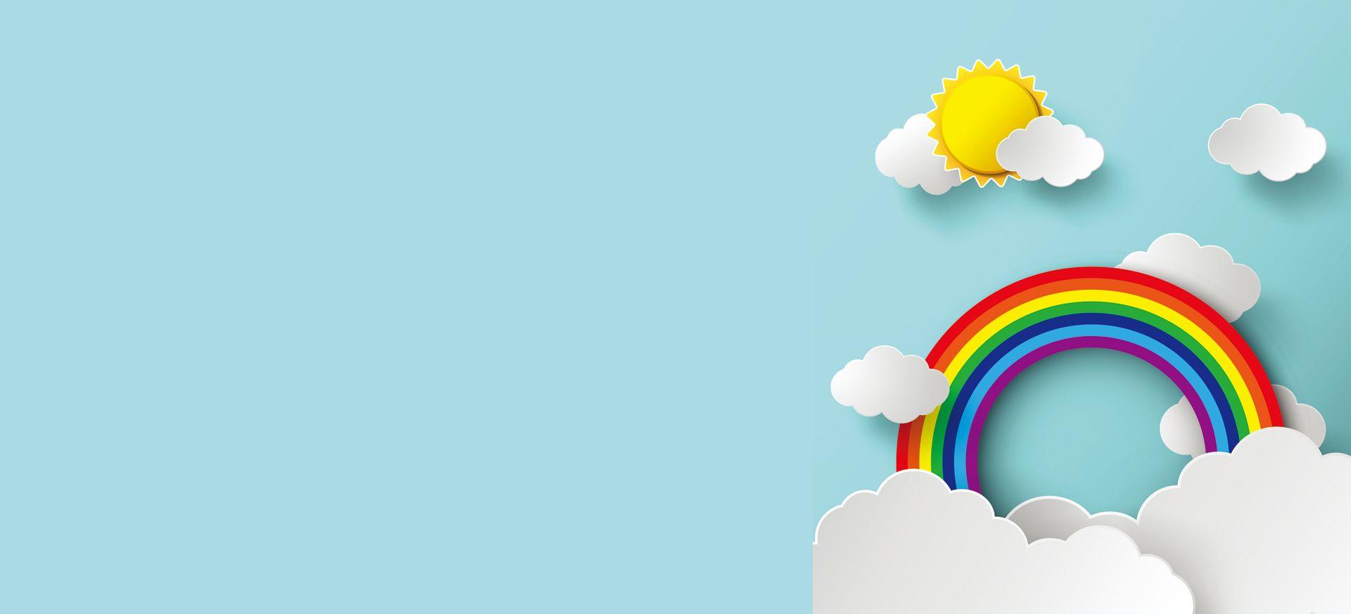 Arco Iris Nuvens Plano De Fundo Banner Cartoon Sol Cartoon Sun Wallpaper Powerpoint Background Banner