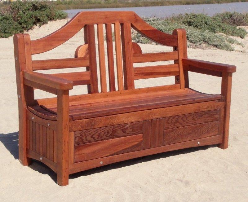 alan s redwood storage bench outdoor