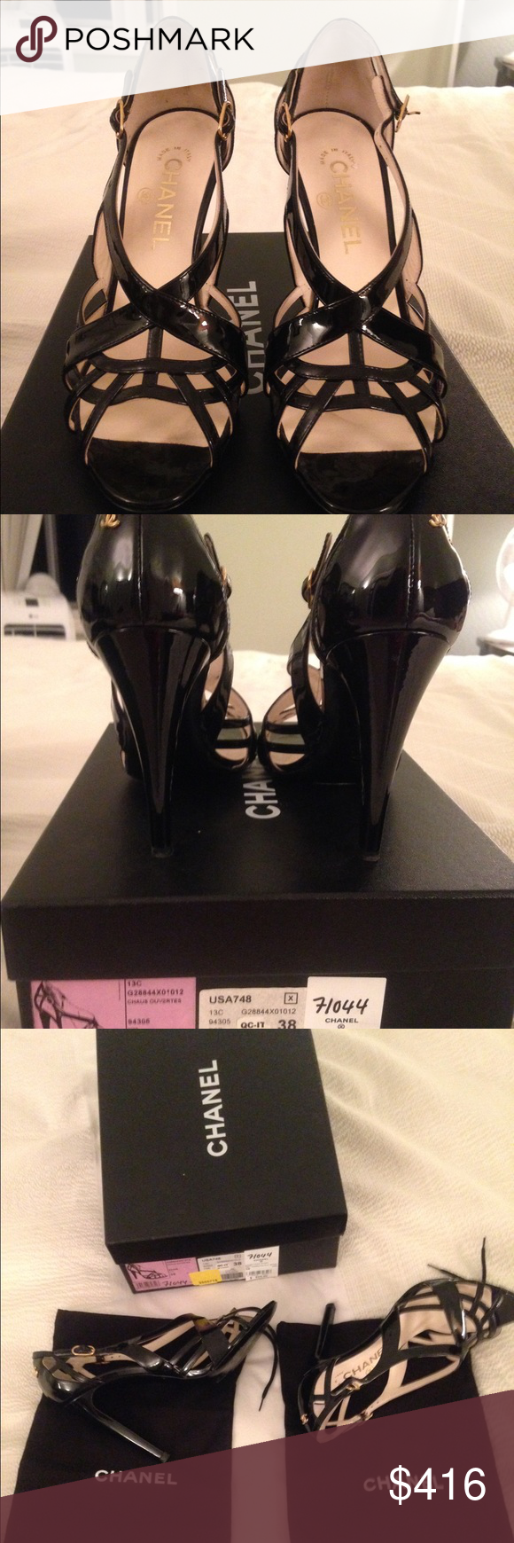 Spotted while shopping on Poshmark: Sexy Chanel black patent heels! #poshmark #fashion #shopping #style #Chanel #Shoes