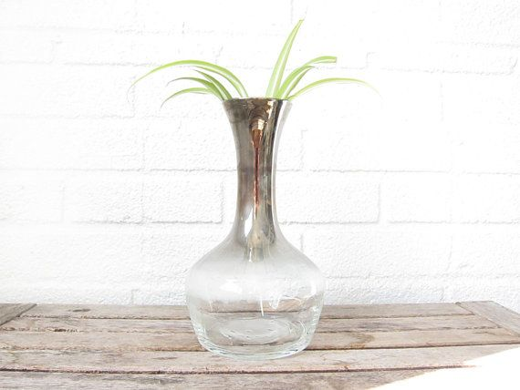 Vintage Silver Ombre Decanter - Silver Metallic Fade Glass Jar - Mad Men Era Vase or Wine Decanter on Etsy, $20.00