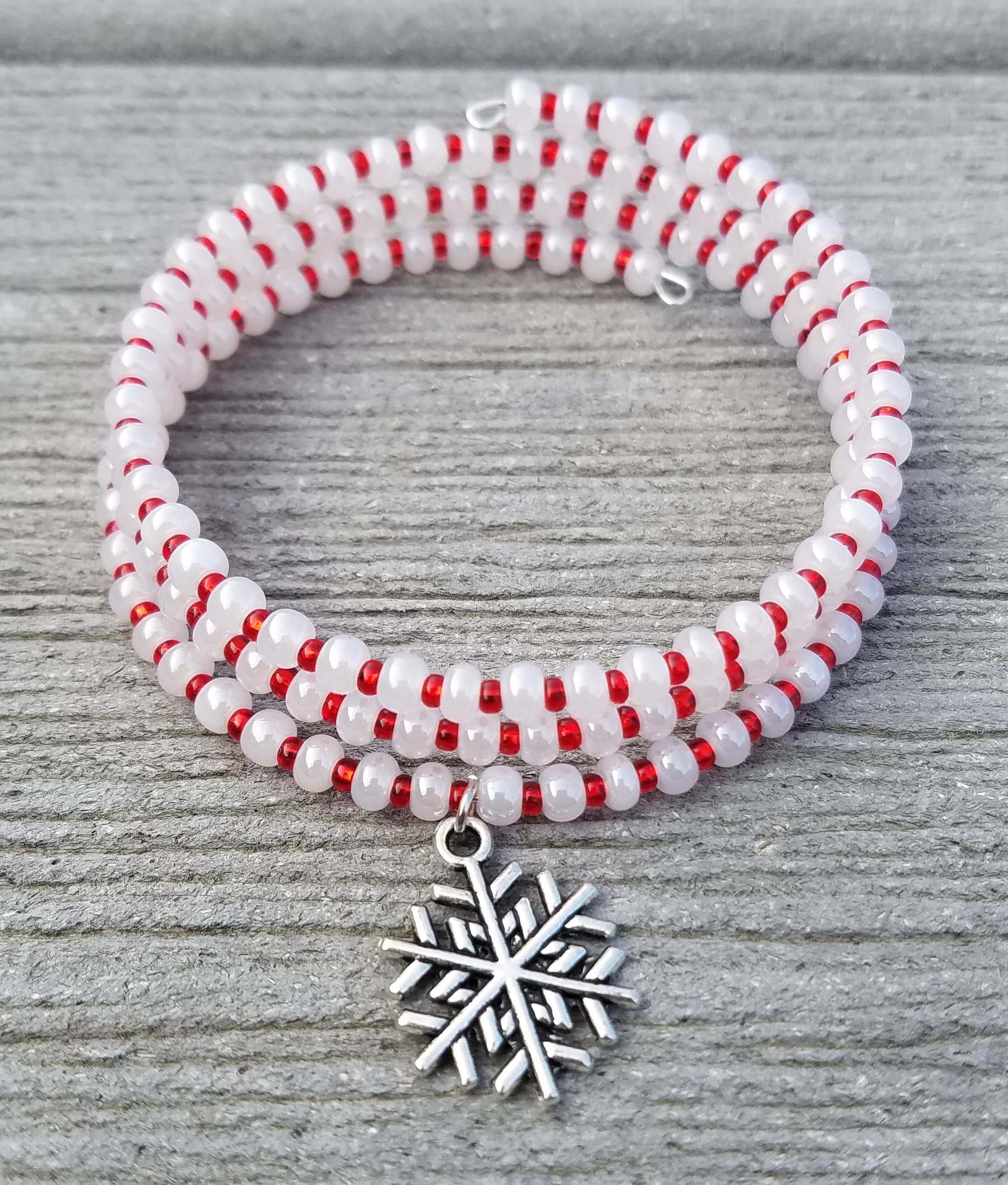 Red and White Snowflake Memory Wire Bracelet / Christmas Bracelet by ...