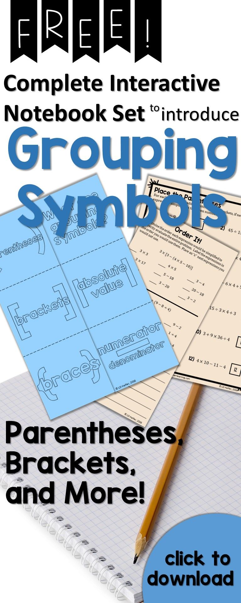 Grouping Symbols Interactive Notebook Set {Freebie} | Middle school ...