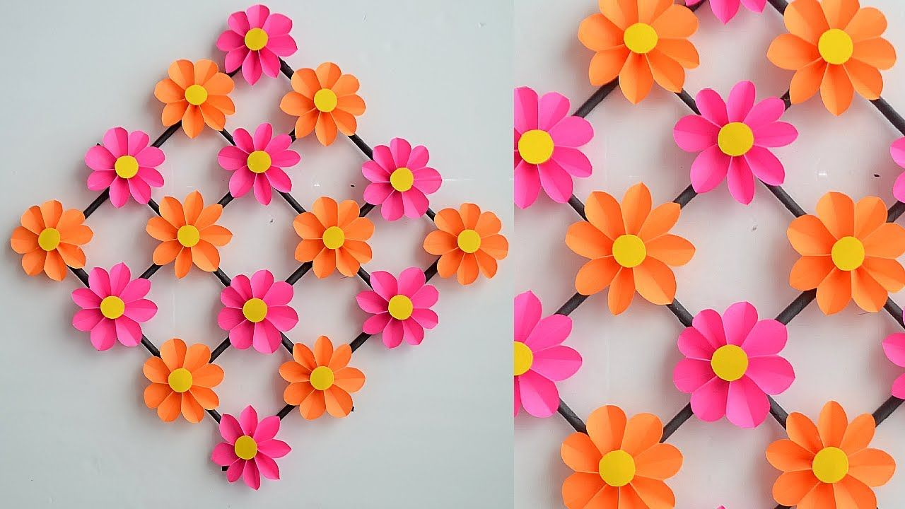 How To Make Paper Flower Paper Flower Wall Hanging Easy Wall Decoration Ideas Paper Craft Youtube Paper Flower Wall Paper Flowers Hanging Flower Wall