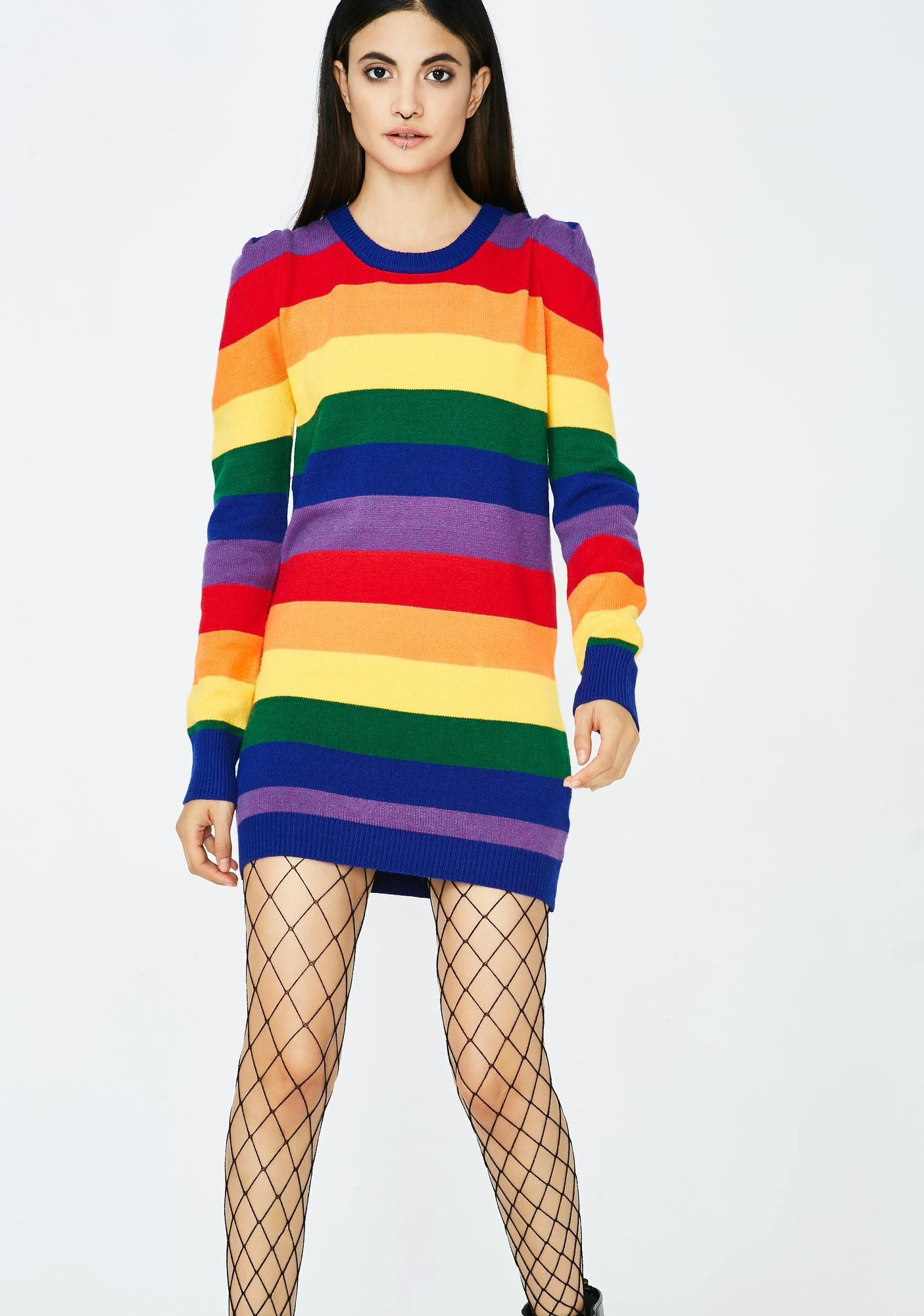 4bd56130563 Pride N  Joy Rainbow Dress just wanna find your pot of gold. This sweater  dress has a mini fit with long sleeves and a crew neckline.