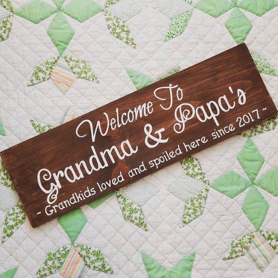 Personalized Grandma and Grandpa Sign. Custom Grandkids Gift. Grandparents Welcome Sign. Pregnancy Announcement Baby Reveal. Grandma's House
