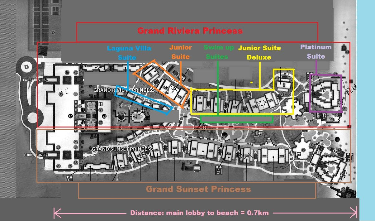 Grand Sunset Princess Map Grand Riviera Princess Resort   Map of room locations (same for