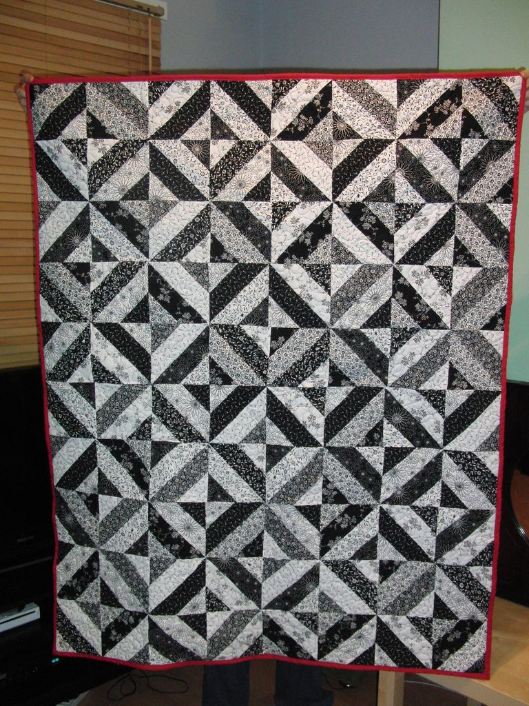 Black And White Quilt Designs Needles Pins and Baking Tins