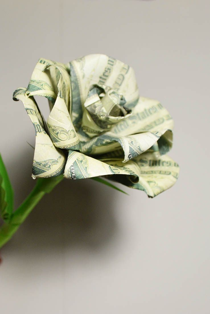 How I Fold And Deploy Money Rose Like Real Without Glue And Tape On