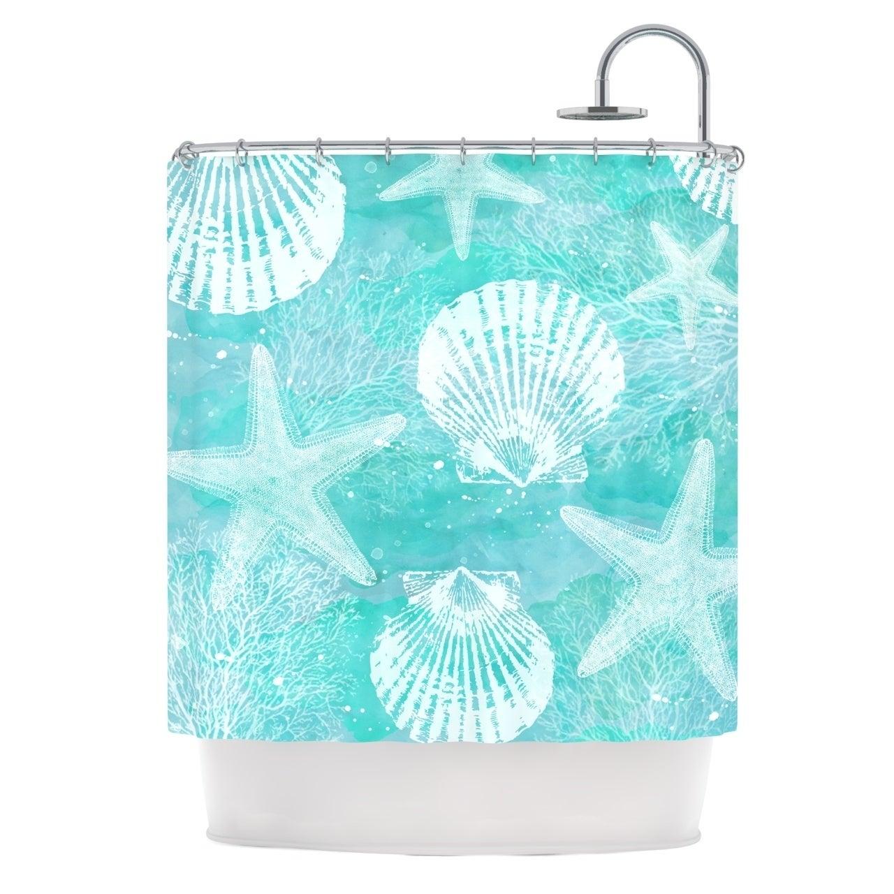Sylvia Cook Seaside Blue Teal Shower Curtain Teal Shower