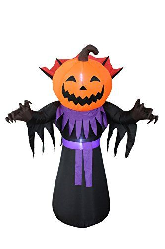 6 Foot Tall Halloween Inflatable Pumpkin Head Monster with Vampire - inflatable halloween decoration